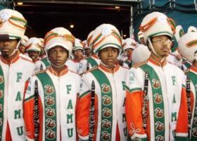 Marching 100 waits to take the field for a pregame performance at the 2010 SuperBowl