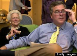 Former Florida Governor Jeb Bush and potential 2016 presidential contender with his mother, former First Lady Barbara Bush.