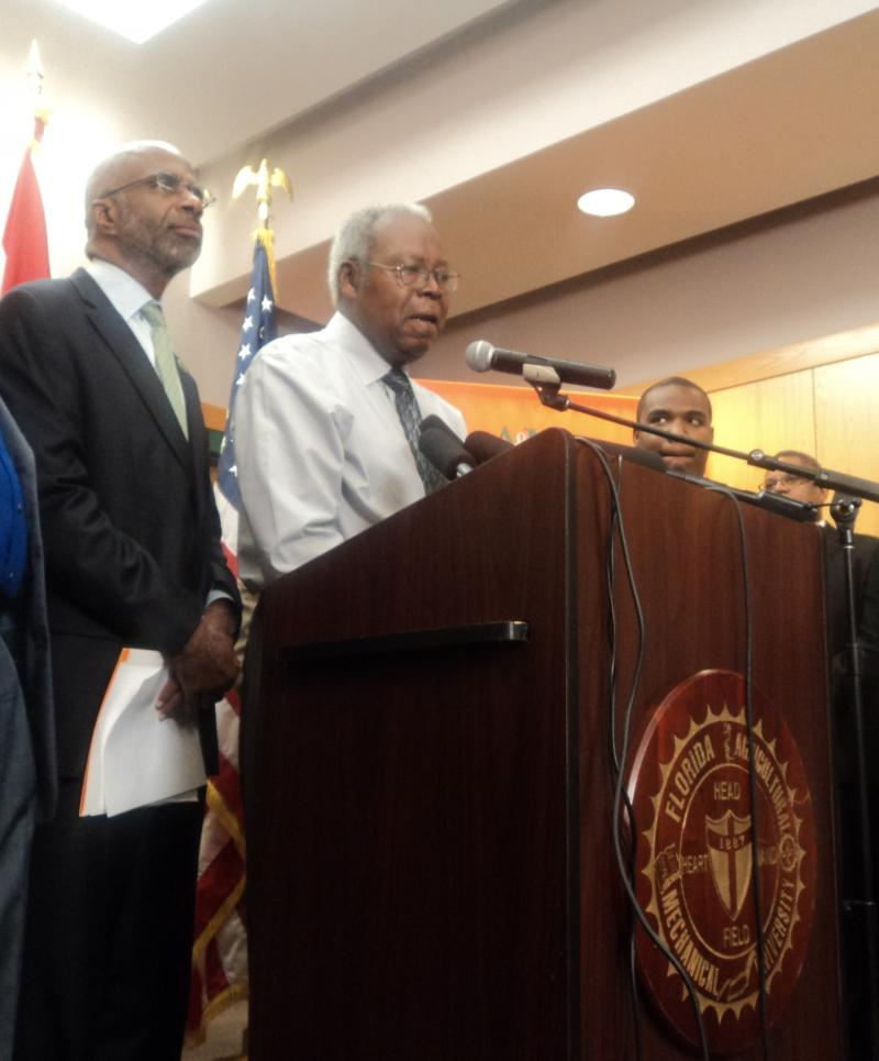 FAMU Interim President Larry Robinson (left) and new band director Sylvester Young giving the announcement that the suspension has been lifted.