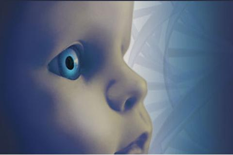 cgi baby on blue background