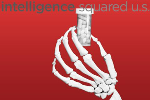skeletal hand clutching a pill bottle and the intelligence squared logo