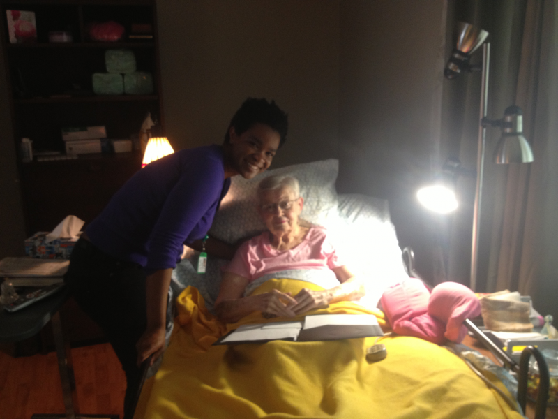 Jean Wilkinson and music therapy intern Patricia Battles.