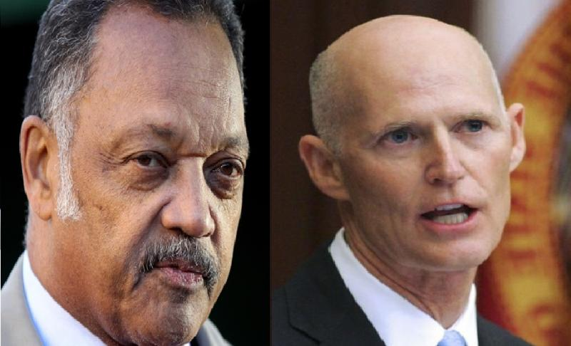 Rev. Jesse Jackson (left) and Florida Governor Rick Scott (right)