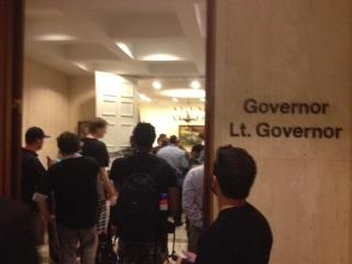 Protesters have been at the governor's office since Tuesday