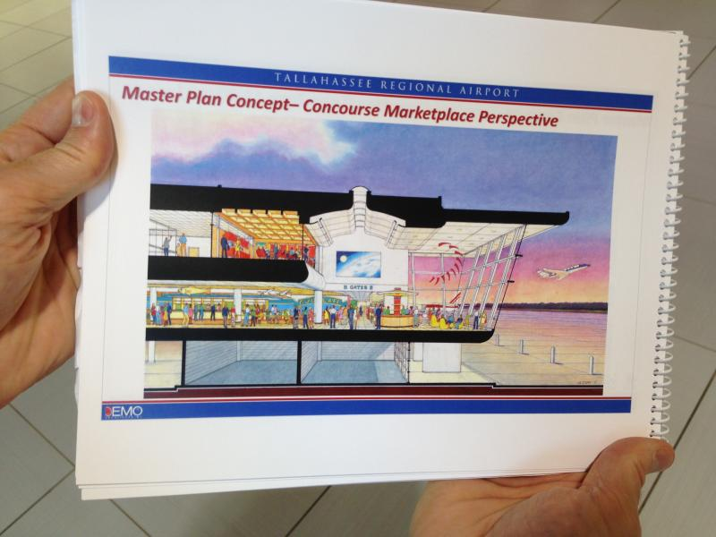 An architect's rendering shows the proposed terminal expansion with viewing deck at Tallahassee Regional Airport.