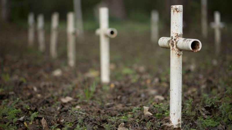 Metal crosses mark graves at the cemetery of the former Arthur Dozier School for Boys in Marianna, Fla. Researchers using ground-penetrating radar and soil samples have so far found 50 unmarked graves.