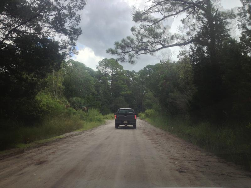 Kessler and Lambou drive down a dirt road towards panacea.