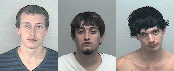 (from left to right) Daniel Faircloth, Aaron Swain, and Riley Waters have been arrested in a string of vehicle burglaries in Wakulla neighborhoods.