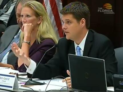 Representative Matt Gaetz (R-Shalimar) chairing a Tuesday House Criminal Justice Subcommittee meeting.