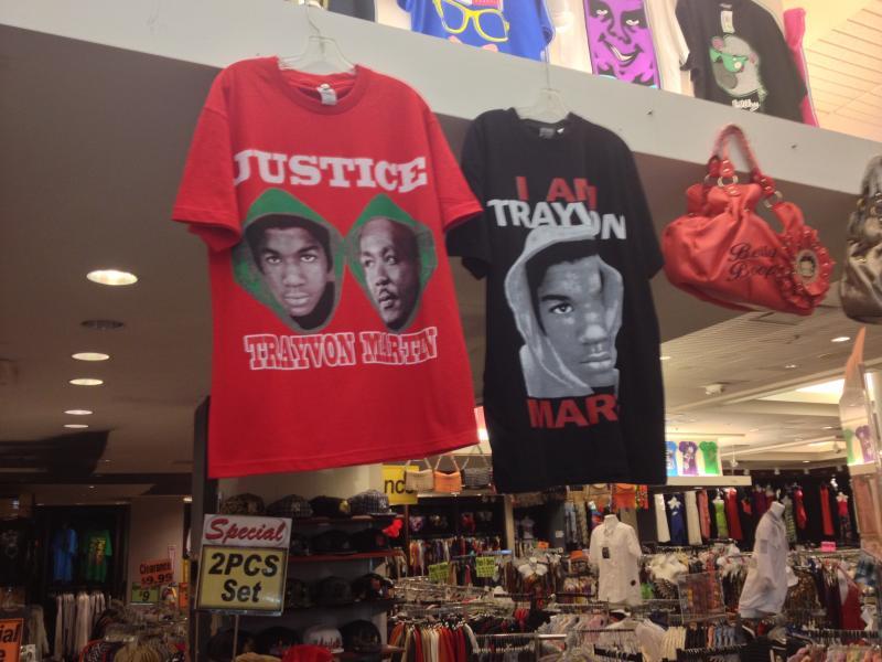 Trayvon Martin t-shirts displayed at Tallahassee's Top Fashion store.