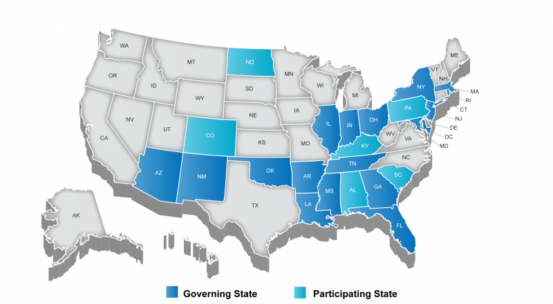 States in blue are among those participating in the PARCC testing consortium