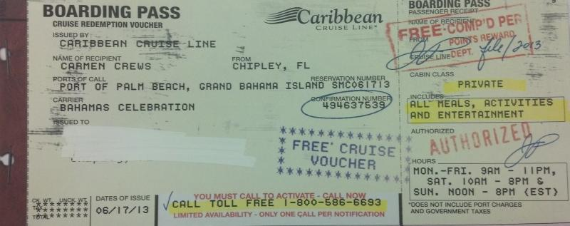 The bogus boarding pass for the fake cruise in exchange for personal information