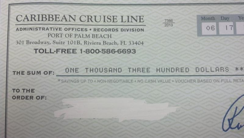 "The $1,300 check that's sent to the recipient from the ""cruise company"" called Caribbean Cruise Line."