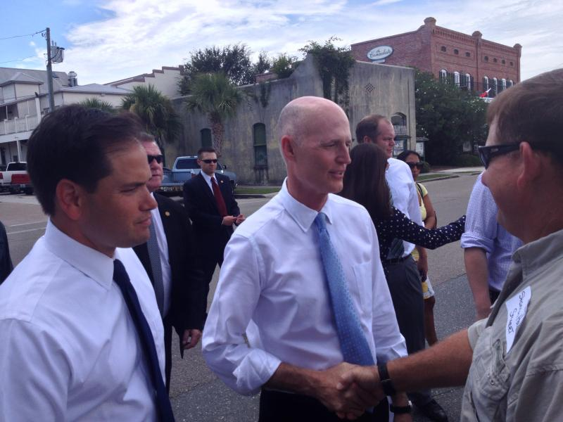 Gov. Scott announced plans to sue Georgia after a U.S. Senate hearing in Apalachicola, Florida.