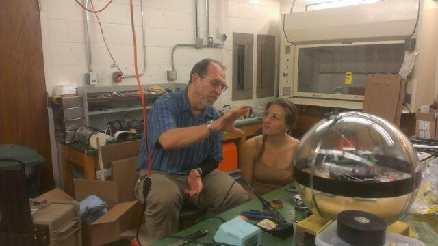 Dr. Ian MacDonald with a graduate student at the FSU Oceanography labs