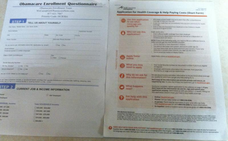 "An ""Obamacare Enrollment Team"" application (l) and a real application from healthcare.gov (r)"