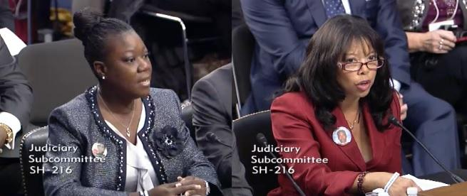 Trayvon Martin's mother, Sybrina Fulton (left) and Jordan Davis' mother, Lucia McBath (right) each talked to U.S. Senators Tuesday during a hearing reviewing Stand Your Ground.