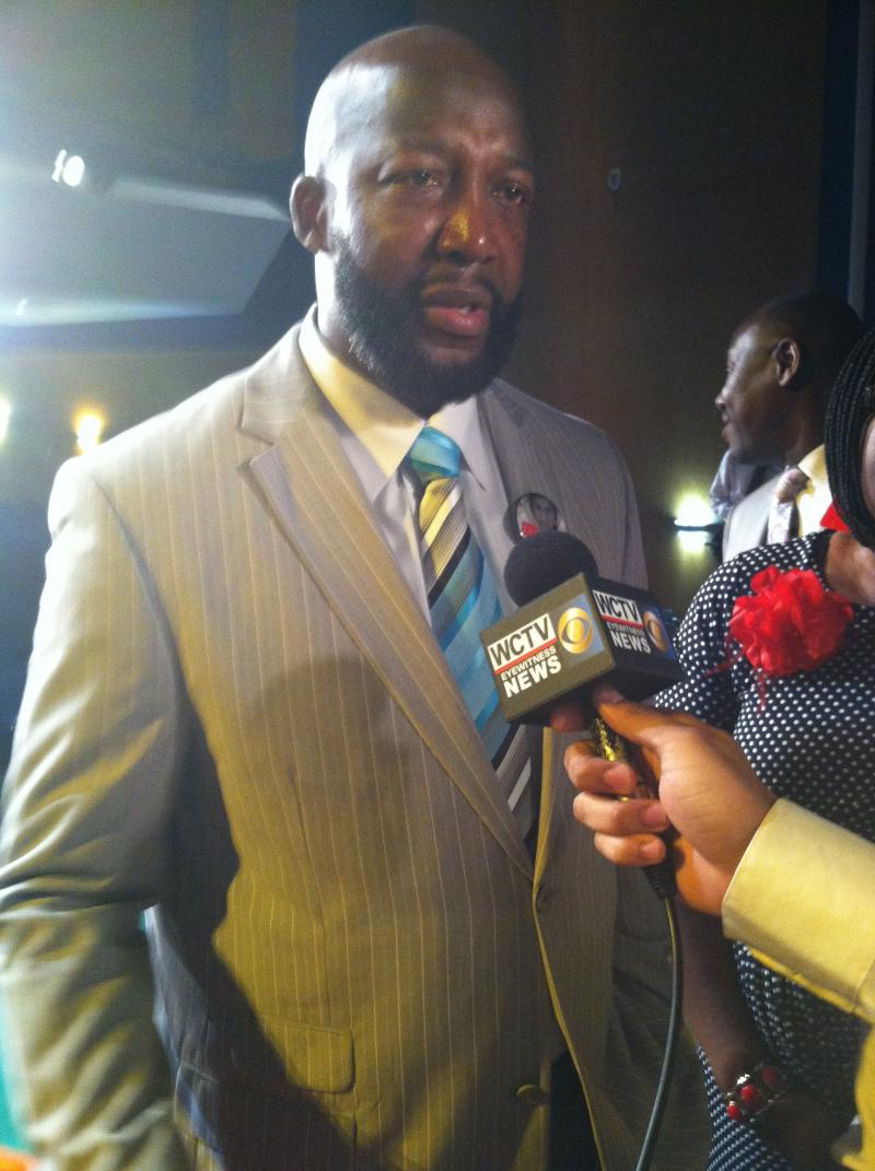 Trayvon Martin's father, Tracy, speaking to reporters following a FAMU forum discussing Stand Your Ground.