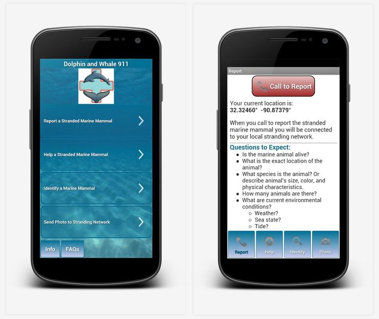"The ""Dolphin and Whale 911"" Smartphone app"