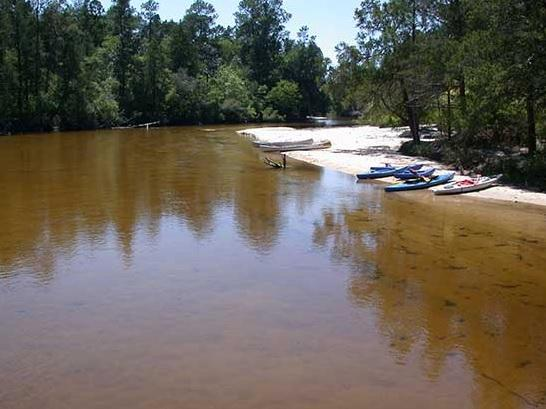 Canoes, kayaks, paddles, and lifejackets lying on the beach of the Blackriver Water State Park. The forest is behind the beach.
