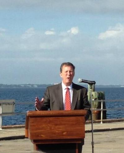 DEP Secretary Herschel Vinyard announcing $88 million for Panhandle counties for restoration projects Friday morning at the Panama City Marina.