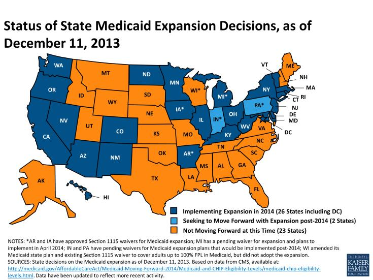 States that have expanded Medicaid are in blue; states that have not are yellow