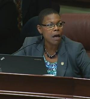 Senator Audrey Gibson (D-Jacksonville) at the Senate Criminal Justice Committee Monday, voicing her concern about part of a bill that would help released inmates get an ID card and birth certificate for free.