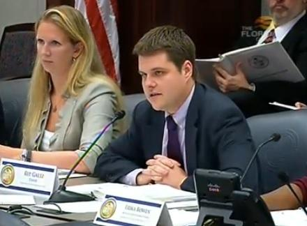 House Criminal Justice Subcommittee chairman Matt Gaetz (R-Shalimar) explaining one of the sex predator bills proposed by his committee.
