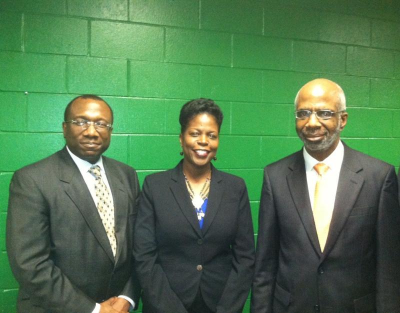 From left to right: FAMU Trustee Karl White, Elmira Mangum, Interim President Larry Robinson