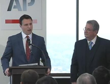 House Speaker Will Weatherford (left) speaking at a news event hosted by the AP Wednesday alongside Senate President Don Gaetz (right). They outlined their 2014 legislative goals, including pension reform.