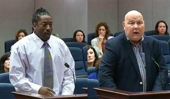 Ellis Curry (left) and Glen Mitchell (right) speak before a House Committee about giving juvenile offenders a second chance. Mitchell's son was killed in a botched robbery 20 years ago. A 16-year-old Curry, at the time, served 12 years for his involvement