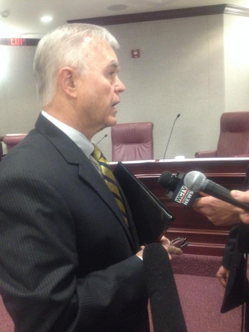 FDLE Commissioner Gerald Bailey talks to reporters Wednesday, following a Senate hearing where he updated lawmakers on the agency's crime lab operations scandal.