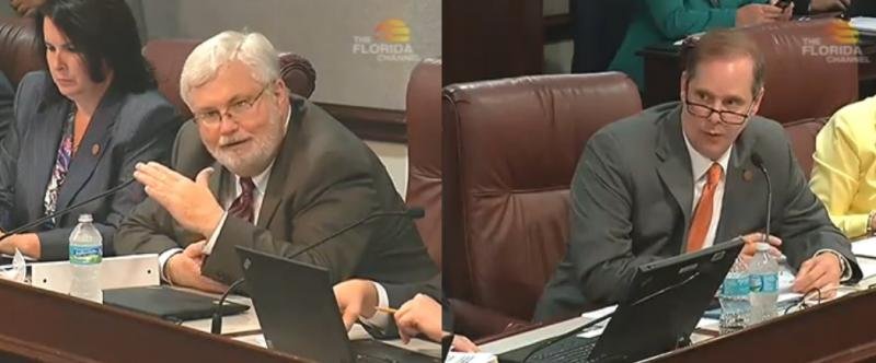 Senator Jack Latvala (R-Clearwater) and Senator Wilton Simpson (R-Trilby) discuss a series of pension reform proposals Tuesday during the Senate Community Affairs Committee.