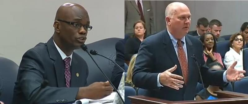 Representatives Kionne McGhee (D-Miami) and Neil Combee (R-Polk City), the bill's sponsor, during the measure's last House hearing Thursday.