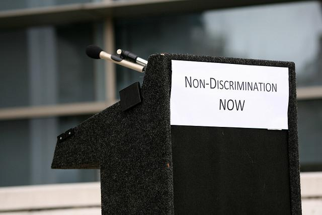 """Non-discrimination now"" sign"