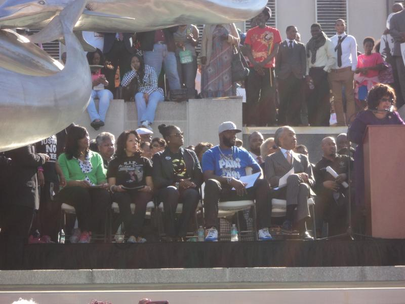 Congresswoman Corrine Brown among the multiple speakers at Monday's rally. The mother of Michael Giles, Jordan Davis' mother as well as Trayvon Martin's parents and Rev. Al Sharpton look on.