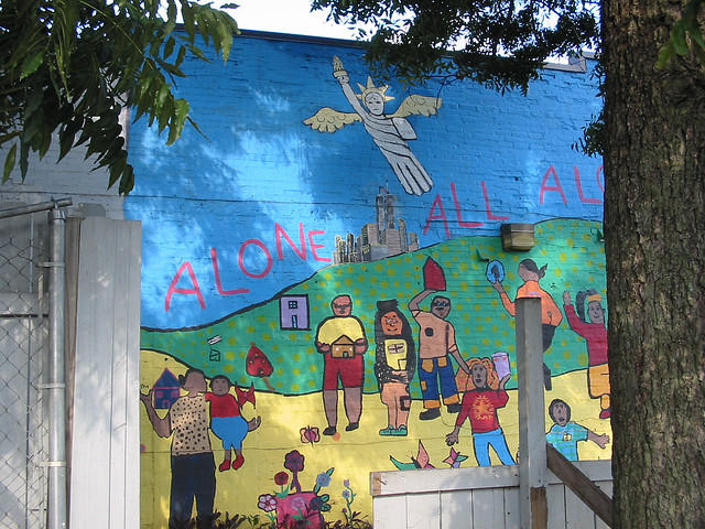 A mural on the side of a Tallahassee homeless shelter.