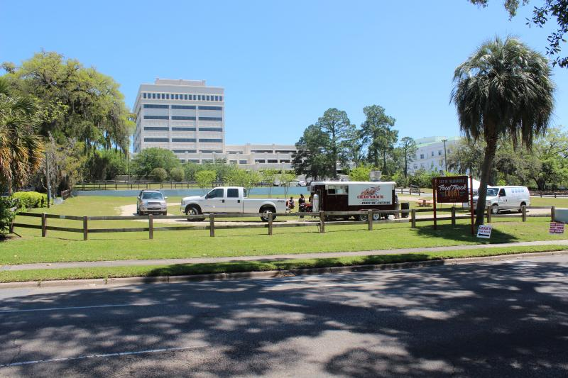 The lot where the performing arts center would have been built