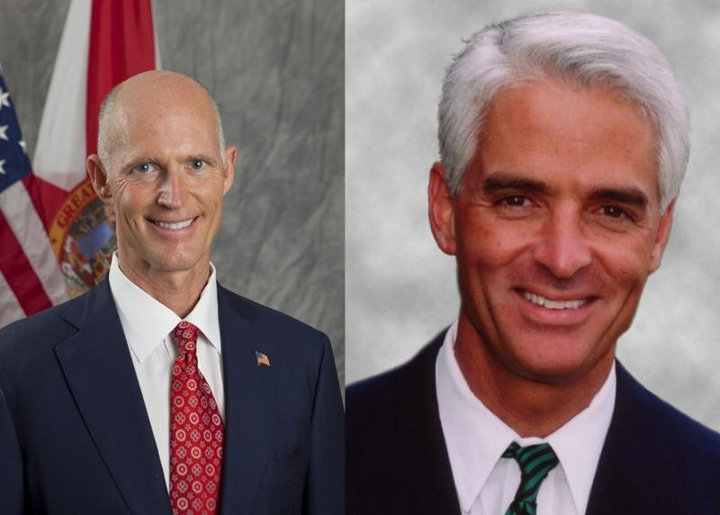 Governor Rick Scott (R) and Former Governor Charlie Crist (D)