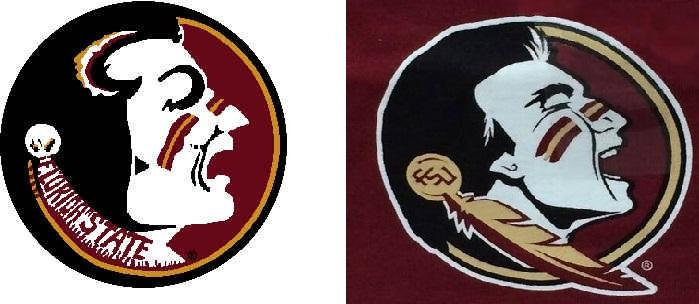 Florida State University's original logo (left) and new logo (right).