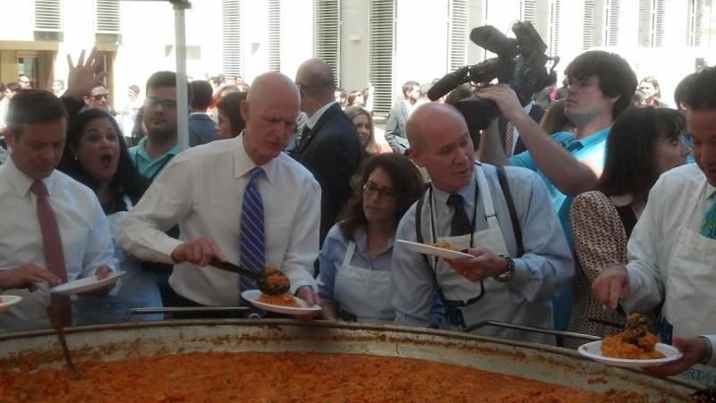 Governor Rick Scott serves Capitol-goers paella Wednesday.