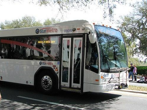 StarMetro bus rolling along the parade path during Springtime Tallahassee