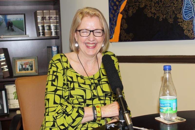 Outgoing DJJ Secretary Wansley Walters laughing during a recent interview.