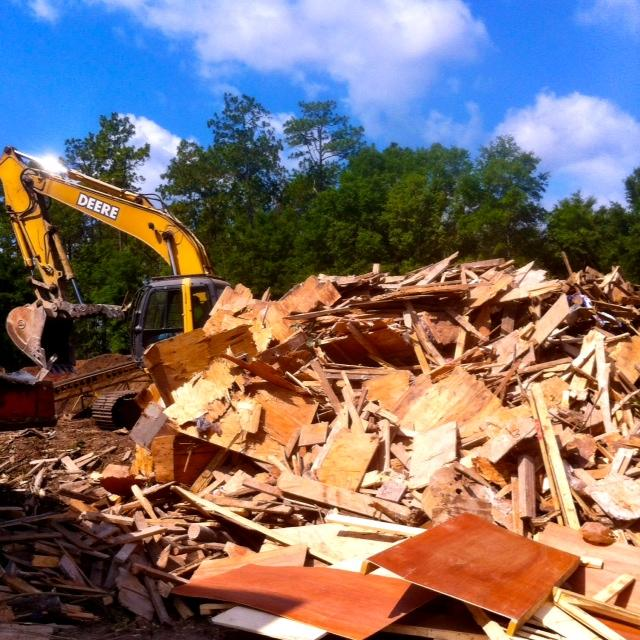 Here's the pile of scrap lumber before it goes through Marpan's wood chipper.