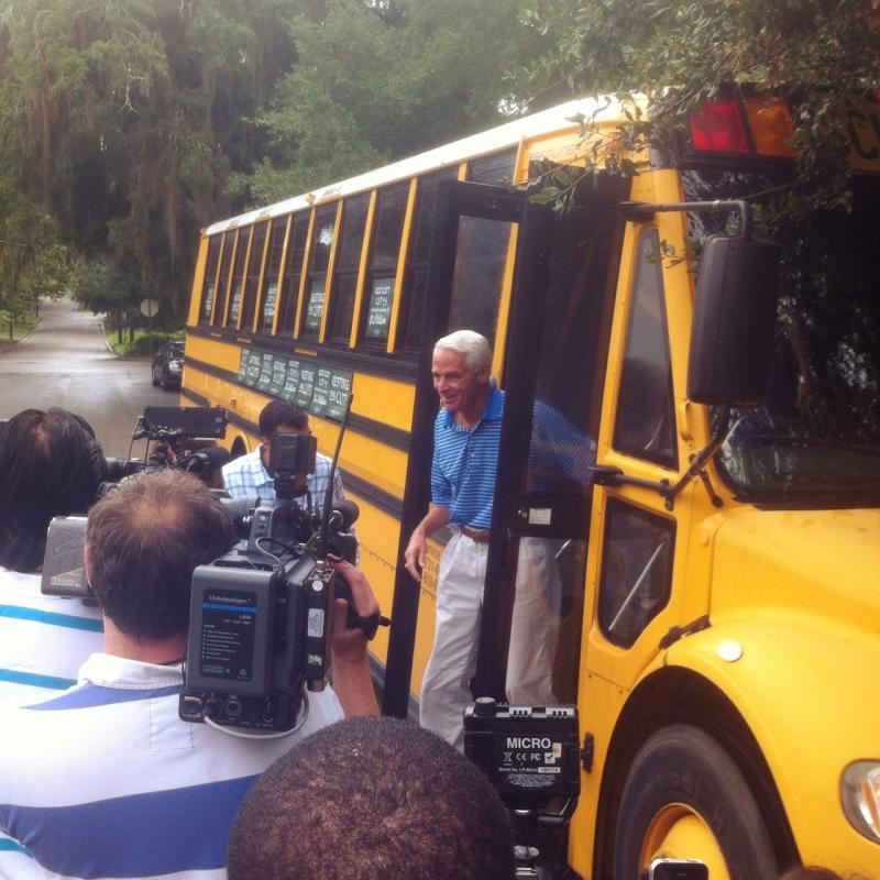 "Crist's ""Restore the Cuts"" kickoff event brought supporters and opponents"