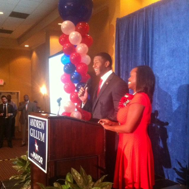 Gillum, flanked by his wife R. Jai, speaking to supporters Tuesday evening.