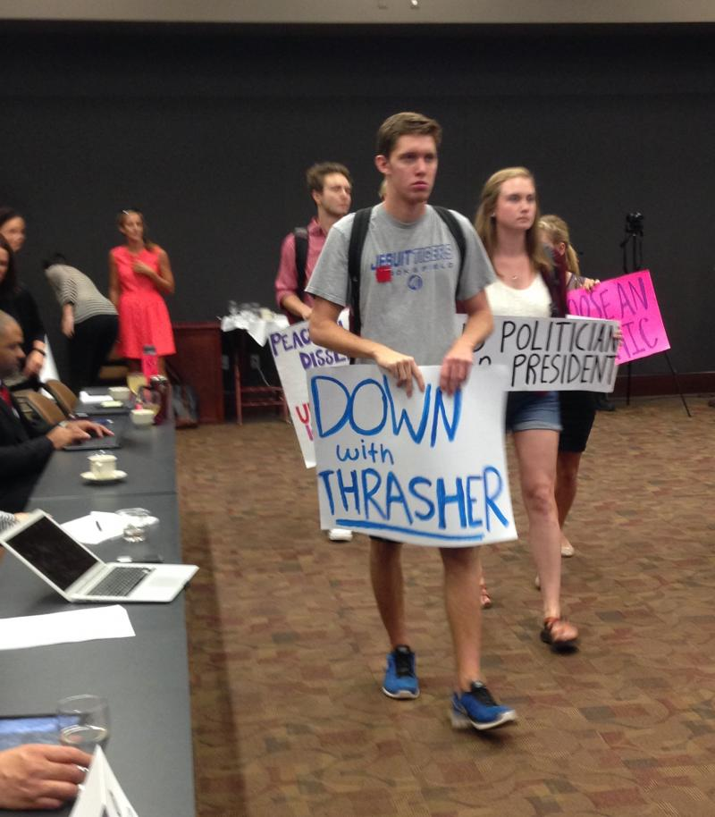 """Down with Thrasher"" sign"