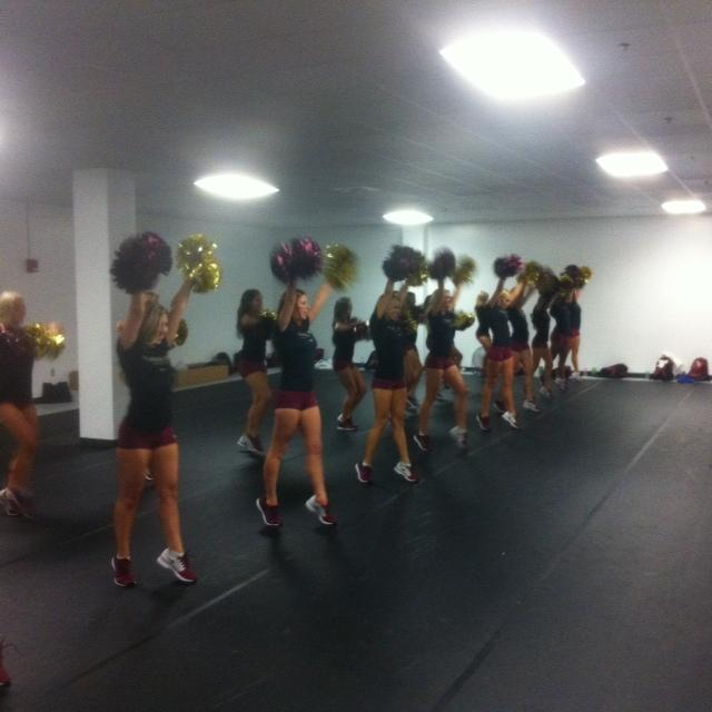 The Golden Girls practicing before the game against The Citadel.