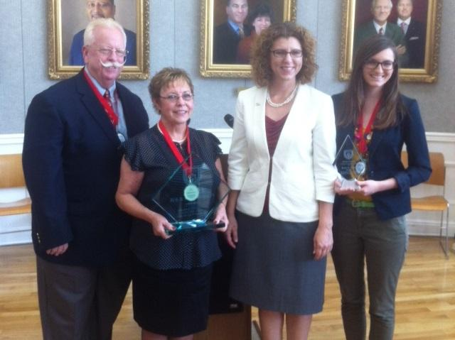 Pictured from left to right: award winners, Bob & Mary Rumbley, Leon Co. Commission Chair, Kristen Dozier, and award finalist, Kylie Foley.