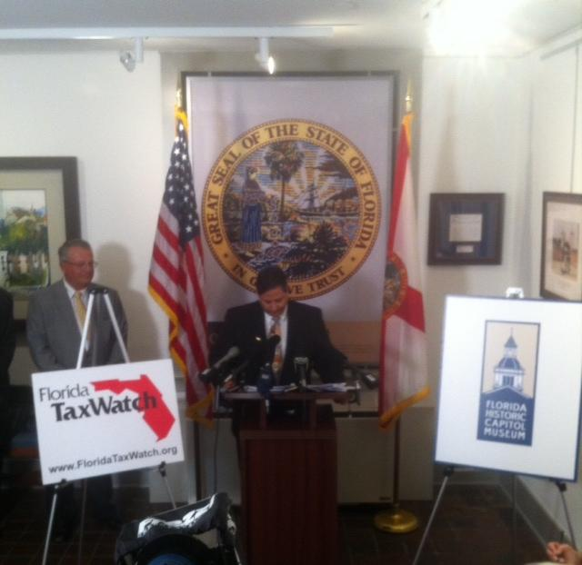 Dominic Calabaro speaking at the press conference.